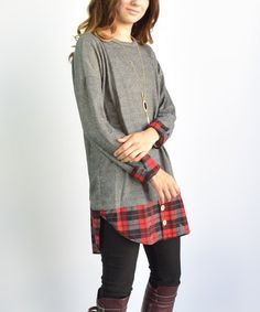 This Charcoal Plaid Tunic is perfect! #zulilyfinds