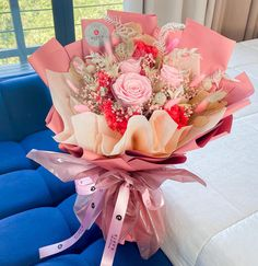 Food Bouquet, Pink Flower Bouquet, Pink Flowers, Gift Wrapping, Table Decorations, Muslim Fashion, Bouquets, Outfits, Gift Wrapping Paper