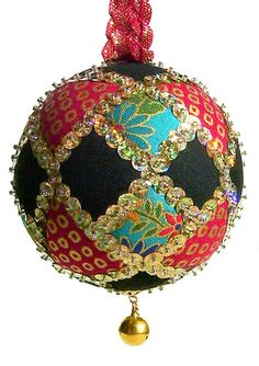 Sequined Japanese Fabric Kimekomi Christmas by ornamentdesigns, $25.00