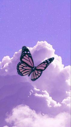 Purple Butterfly Wallpaper, Purple Wallpaper Iphone, Butterfly Background, Cloud Wallpaper, Iphone Background Wallpaper, Disney Wallpaper, Wallpaper Quotes, Pink Wallpaper Backgrounds, Summer Wallpaper