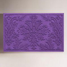 One of my favorite discoveries at WorldMarket.com: Brocade WaterGuard Standard Doormat, Purple