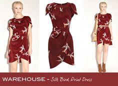 Friday Frock O'clock red bird-print draped dress