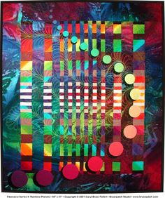 Fibonacci Series 4: Rainbow Planets © 2001, Fine Art Quilt by Caryl Bryer Fallert-Gentry, Port Townsend, WA