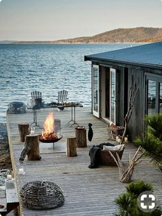 Haus am see Future House, Outdoor Spaces, Outdoor Living, Outdoor Fire, Lakeside Living, Outdoor Decor, Beautiful Homes, Beautiful Places, Beautiful Beach