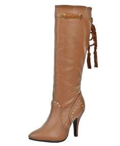 Rivets Embellished High Heel Boots