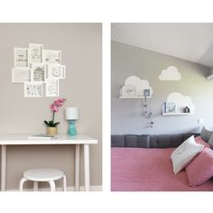 Girls bedroom up grade from toddler to little big girl; grey white red kids room with white clouds on the walls