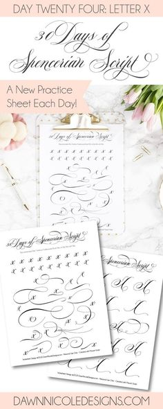 Spencerian Script Style: Letter X Worksheets. This post is part of the 30 Days of Spencerian Script Style Worksheets series. I'm posting a new free Spencerian Style Practice Worksheet every day for thirty days!