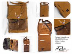 ReaSack classic 'Emma' -- Original Tiroler Loden 100% Schurwolle   senfbraun meliert -  Kaninchenfell bayerisch glücklich 'Fuchs Langhaar' - Futter reine Seide - Edelstahl - Original Charivari Rehbock-Krickerl - Masse cm 29 b + 41 h (aufgeklappt 64) - Trageriemen 100 cm - Tasche by ReaAndrea