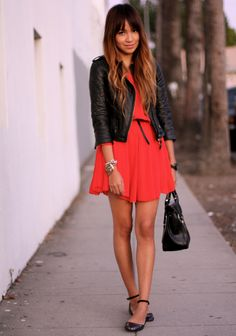 black leather + red dress
