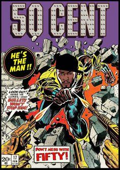Noir Gallery 50 Cent Hip Hop Rap Rapper Music Metal Wall Art Print x Multicolor(Aluminum) Arte Do Hip Hop, Hip Hop Art, Ad Libitum, Rapper Art, Black Cartoon, Film D'animation, Hip Hop And R&b, Dope Art, Comic Book Covers