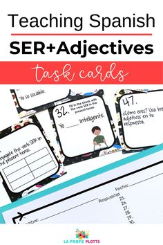 Don't miss this FREE fun and engaging set of task cards. A great addition when you're teaching adjectives and SER in your Spanish classroom. #TeachingSpanish #SpanishAdjectivesSER