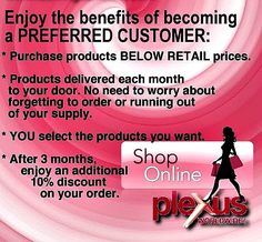The best ways to enjoy purchasing your Plexus products. Plexus changing lives! Shop Plexus.....Join plexus! Www.plexusslim.com/FindWellnessB  #394036