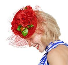 Clip On Red Rose Fascinator Hat