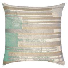 Silver & Gold Metallic handprinted on minty silk velvet pillow, handmade in Philadelphia by Kevin O'Brien Studio