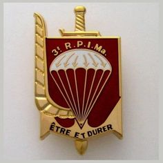 FRENCH PARATROOPERS - 3 RPIMa - GOLD COLOR VERSION BADGE - INFANTRY PARACHUTE