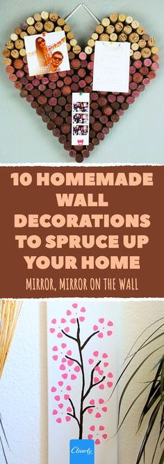 10 Homemade Wall Decorations To Spruce Up Your Home Homemade Wall Decorations, Christmas Decorations To Make, Christmas Crafts, Mur Diy, Cherry Blossom Painting, Picture Frame Crafts, Wooden Coat Rack, Homemade Furniture, Pinterest Crafts