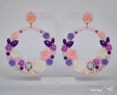 Pendientes de Flamenca en tonos lilas y moradosBisutería Online - Complementos del Sur