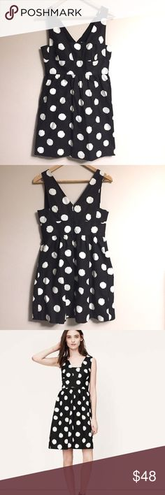 """[Loft] Black Polka Dot Dress Sleeveless Cocktail Ann Taylor Loft. NEW with Tags. Black Polka Dot Dress Sleeveless Cocktail Dress. Faux V-Neck, Back Concealed Zipper Closure, Made in Indonesia, Cotton + Spandex Blend, A-Line Silhouette, Length 33"""", Waist 14"""", Hips 19"""", Chest 17"""". NWT Excellent Condition- No Flaws or Fading. Retail $98.00 #0305172601 LOFT Dresses"""