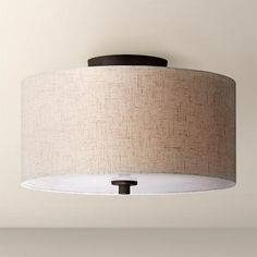 Drum flush mount light   Home Sweet Home   Pinterest   Drums     Bronze with Off White Shade 14  Wide Ceiling Light Fixture