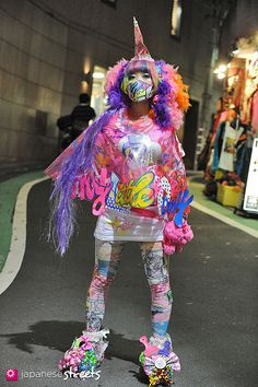 Colorful, pink, purple, wig, fabric, Japan - Japanese street fashion in Shibuya, Tokyo