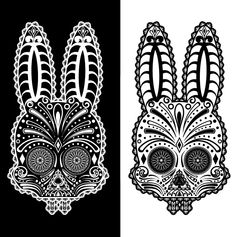 Illusion: Rabbits and sugar skulls seemed like an unlikely combination—but here they are! Images © Penny Collins / Studio 566. http://illusion.scene360.com/news-community/sugar-skull-rabbits/ #illustration #rabbit