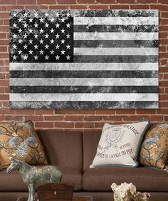 Another great find on #zulily! Grunge Gray & White USA Flag Canvas by iCanvasART #zulilyfinds
