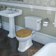 The Camberley Bathroom Suite Range is a real design classic, turning traditional functionality into style and elegance. Including a luxury white soft close seat, this close coupled toilet will add classical style to any bathroom suite. Traditional Toilets, Traditional Bathroom, Compact Bathroom, Small Bathroom, Bathroom Ideas, Classic Toilets, Cloakroom Suites, Close Coupled Toilets, Pedestal Basin