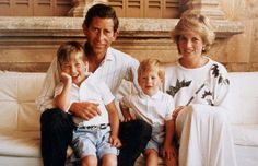 Official Christmas card 1987: Prince Charles, Princess Diana, Prince William and Prince Harry on holiday together in Spain