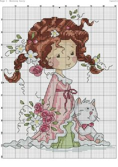 Little girl with cat Cross Stitch Angels, Cross Stitch For Kids, Cute Cross Stitch, Cross Stitch Charts, Cross Stitch Designs, Cross Stitch Patterns, Cross Stitching, Cross Stitch Embroidery, Embroidery Patterns