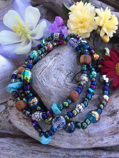 Colorful boho style bundle of bracelets  Very colorful beads