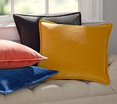 Washed Velvet Pillow Cover #potterybarn This will work in bedroom or living room.