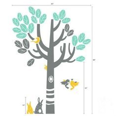 Wall Decal Sticker living room baby bed room sticker Art Home Murals-Children - Nature, woodland theme, Birds and bunnies