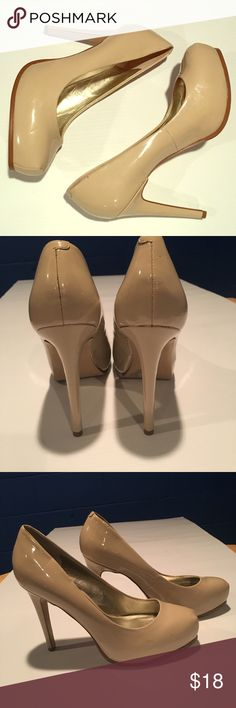 "Guess Nude Platform 5"" Pumps Guess  Nude Pumps  Size 10 EUC  5"" heel  1"" platform  Clean heel and insides  A few dents shown from storage.  Unnoticeable on  Worn one time  Ask questions before buying. Guess Shoes Heels"