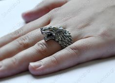 """Direwolf, House of Stark Ring, """"Game of Thrones """" inspired """"Houses of Westeros"""" Jewelry , Wolf Animal Ring Arya Stark Aesthetic, Ring Game, Game Of Thrones Houses, Queen Of Spades, Sansa Stark, Dire Wolf, House Stark, Animal Rings, Shopping"""