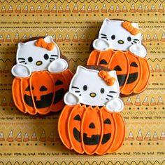 Hello kitty pumpkin cookies cute halloween party food ideas party food party favors pumpkins