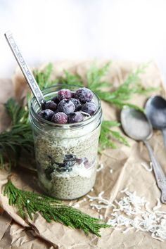 cinnamon chia pudding with coconut and blueberries