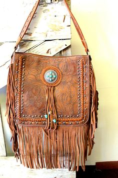 Genuine leather purse, tooled with fringe. Fringe Purse, Leather Fringe, Leather Purses, Bucket Bag, Ranch, Buy And Sell, Etsy Shop, Clothes For Women, Handmade