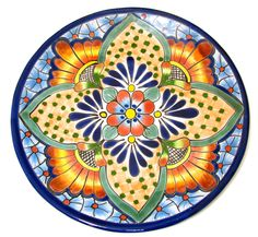 """MEXICAN WALL HANGING TALAVERA POTTERY PLATE 12"""""""