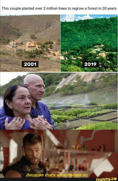 This couple planted over 2 million trees to regrow a forest in 20 years - iFunny :) Sweet Stories, Cute Stories, Dc Memes, Funny Memes, Save Our Earth, Human Kindness, Faith In Humanity Restored, Wholesome Memes, Good People