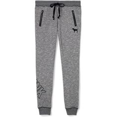Victoria's Secret Collegiate Pant ($50) ❤ liked on Polyvore featuring activewear, activewear pants, bottoms, sweatpants, pants, slim fit sweat pants, slim fit sweatpants, slim sweatpants, black sweat pants and long sweatpants