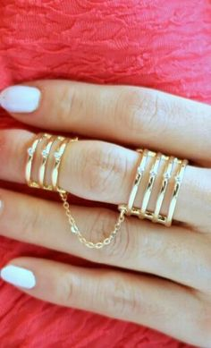 Double Chain Crystal Bar Ring from Folica. Saved to Jewelry Box . Cute Jewelry, Modern Jewelry, Body Jewelry, Jewellery, Silver Jewelry, Jewelry Trends, Jewelry Accessories, Double Chain, Double Ring