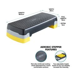 Stepper Aerobic Step Fitness Gold Coast Black & Yellow Adjustable Height Levels
