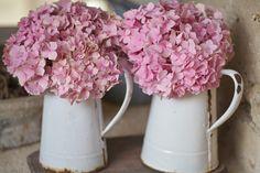 Pink hydrangeas, white enamel....love  xo--FleaingFrance