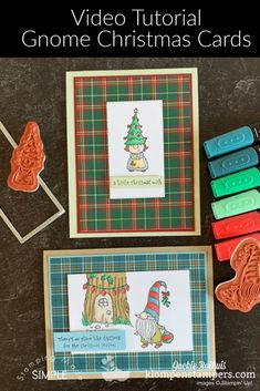 I've got 4 DIY Christmas cards made with the Stampin' Up! Gnome for the Holidays to share. Talk about easy homemade cards for the season! Check out the tutorial at www.klompenstampers.com #handmadechristmascards #cutechristmascards #stampinupgnomefortheholidays #gnomefortheholidays #cardmakingtutorials #klompenstampers #jackiebolhuis #stampinupchristmascards #stampinupcards