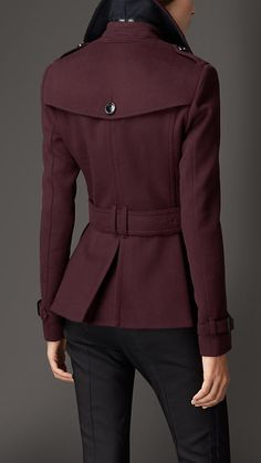 Deep claret Wool Cashmere Trench Jacket - Image 2