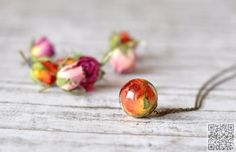 23. Real #Rosebud Resin #Sphere Pendant #Necklace - 45 Items of #Flower… #Floral