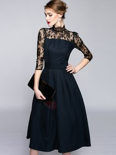 Tidebuy.com Offers High Quality Stand Collar Three-Quarter Sleeve Patchwork Skater Dress, We have more styles for Skater Dresses