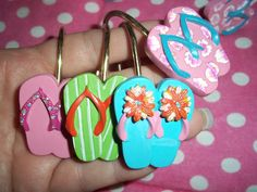 lot of 12 flip flop shower curtain hooks really cute