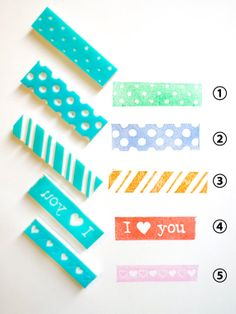 Washi Tapes - Hand Carved Rubber Stamp, Heart, I Love You, Polka Dot, Stripe
