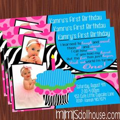Toooo cute!!  Cupcake Invitation Zebra Cupcake Invitation by MimisDollhouse, 11.99